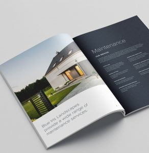 A corporate brochure designed by Yellow Circle for Blue Iris Landscapes