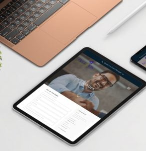Blue Iris website works on tablet devices. The website was designed by Yellow Circle - Creative Agency
