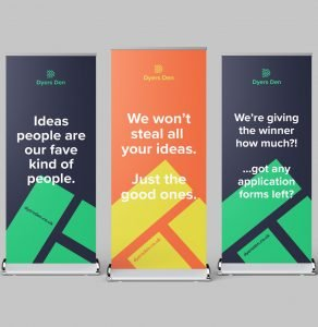 Dyers Den pull up banner - designed by Yellow Circle