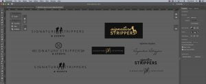 Design artboard for the signature strippers logo.