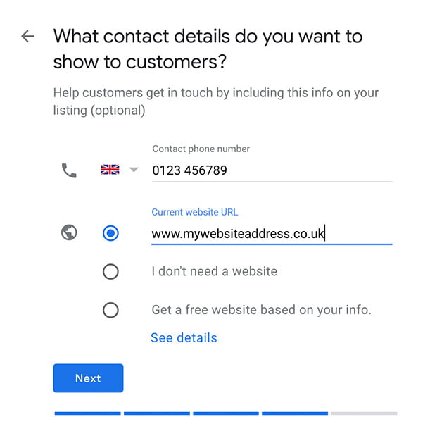 Enter your contact details including your phone number and website address - Google My Business