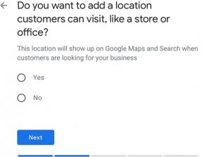 Enter the location of your business on Google My Business