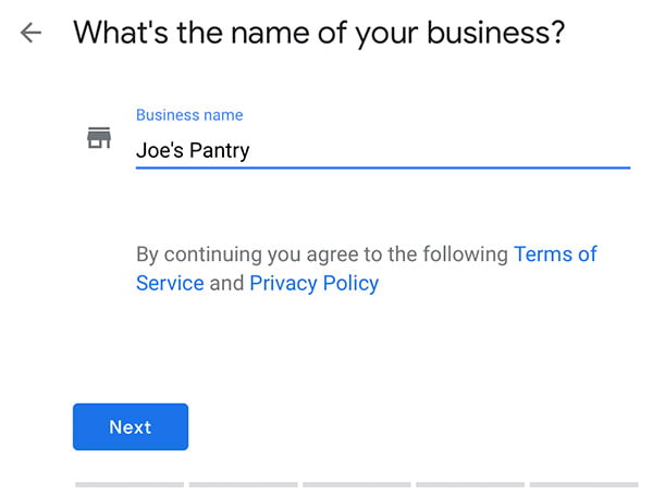 A screen shot showing how the enter your business name screen on Google My Business