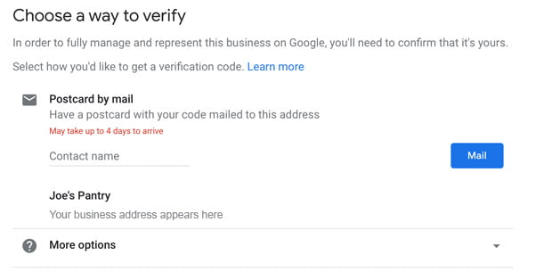 Verify your business listing in Google My Business